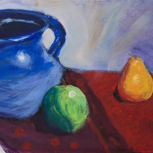 Blue Pitcher & Fruit