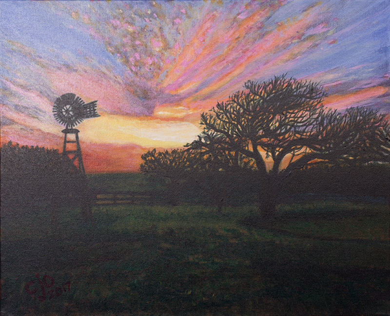 Sunset Temple Ranch Texas painting