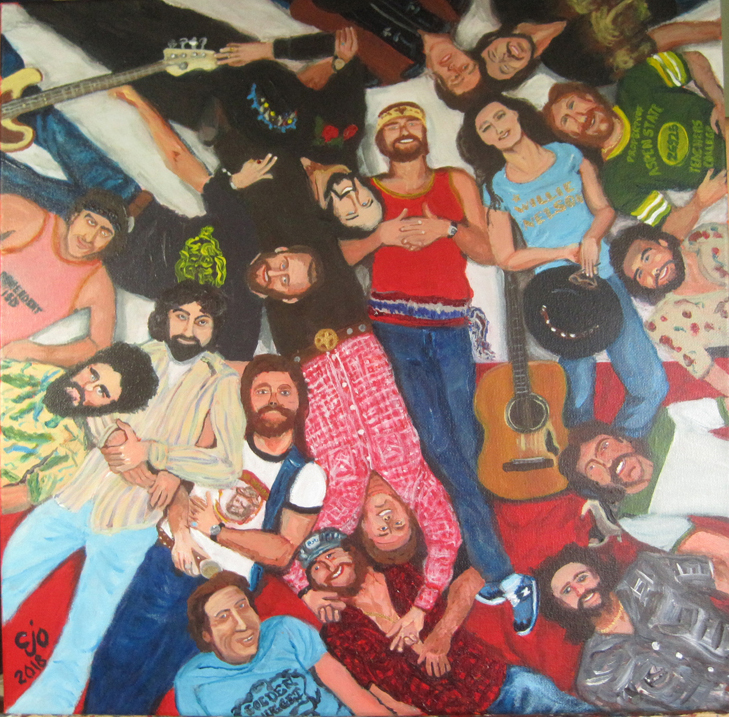Willie and Family Painting by Texas artist CJO
